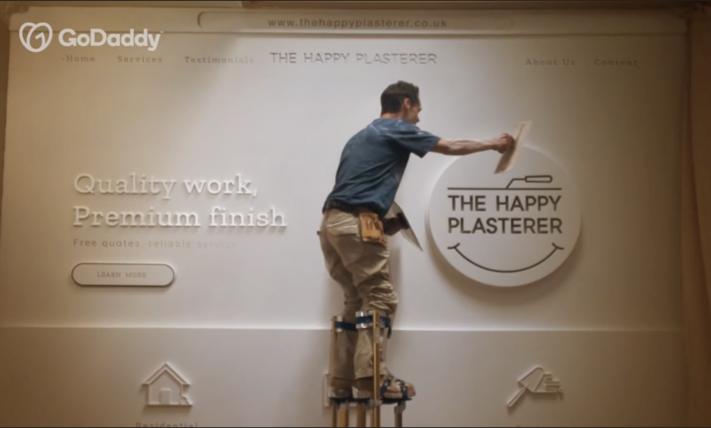 GoDaddy The Happy Plasterer 2